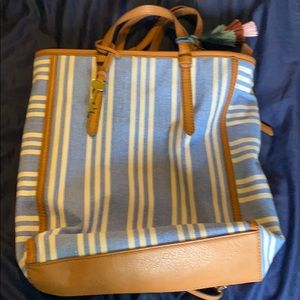 Large blue and tan Fossil bag